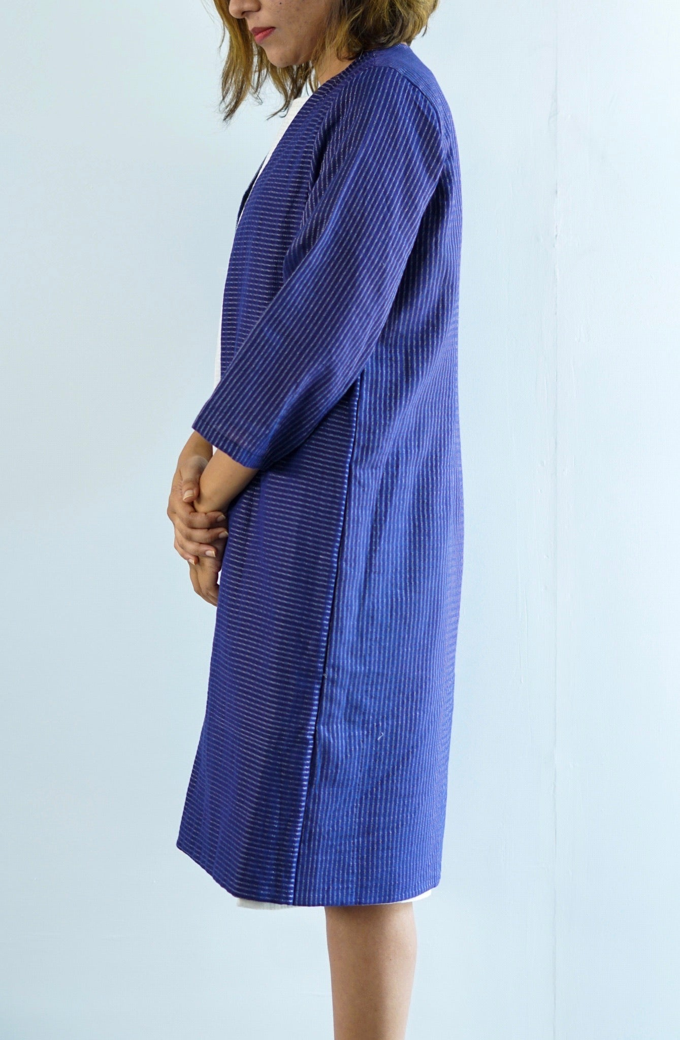 Blue striped linen vest