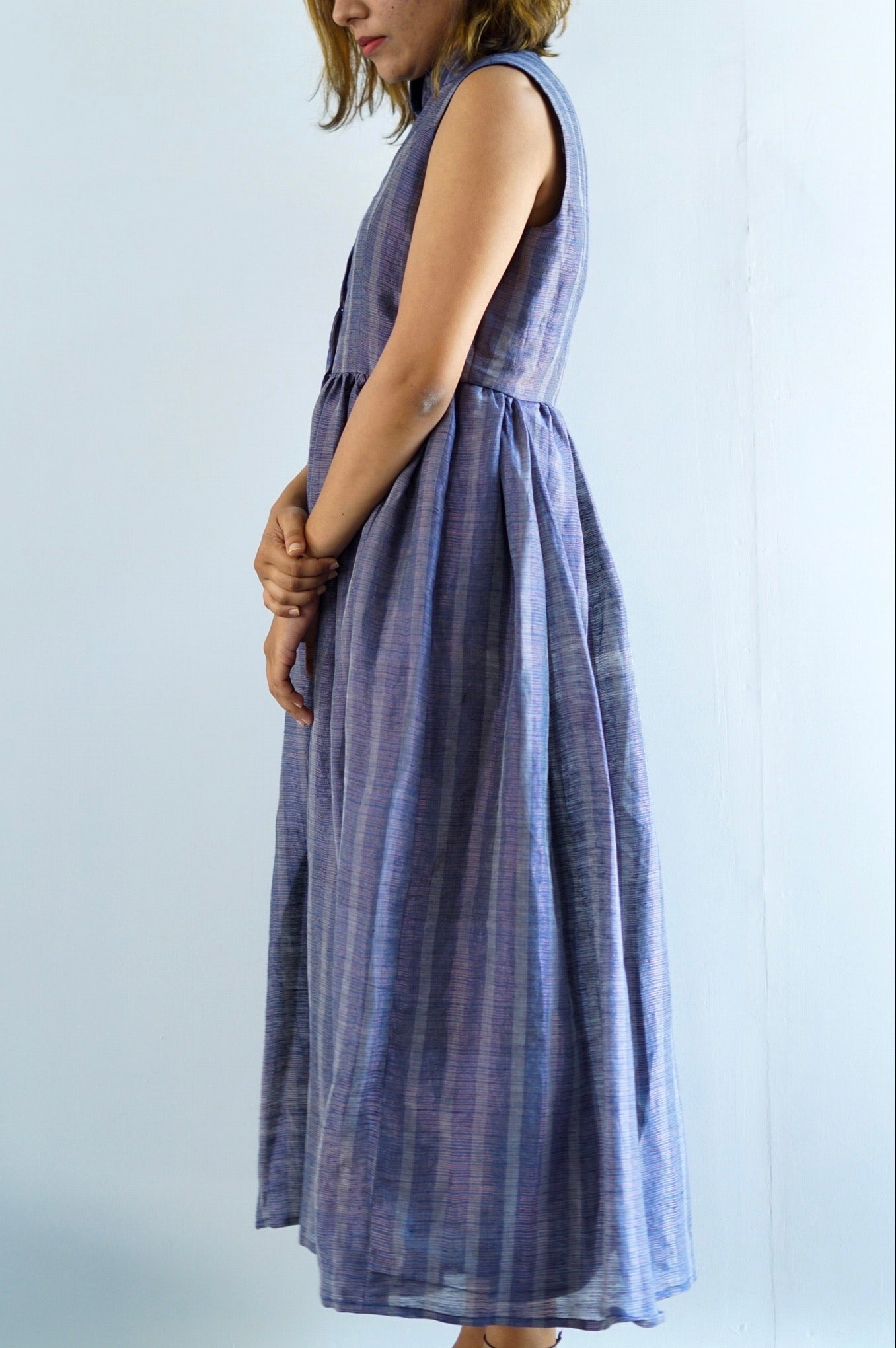 Blue striped gathered maxi