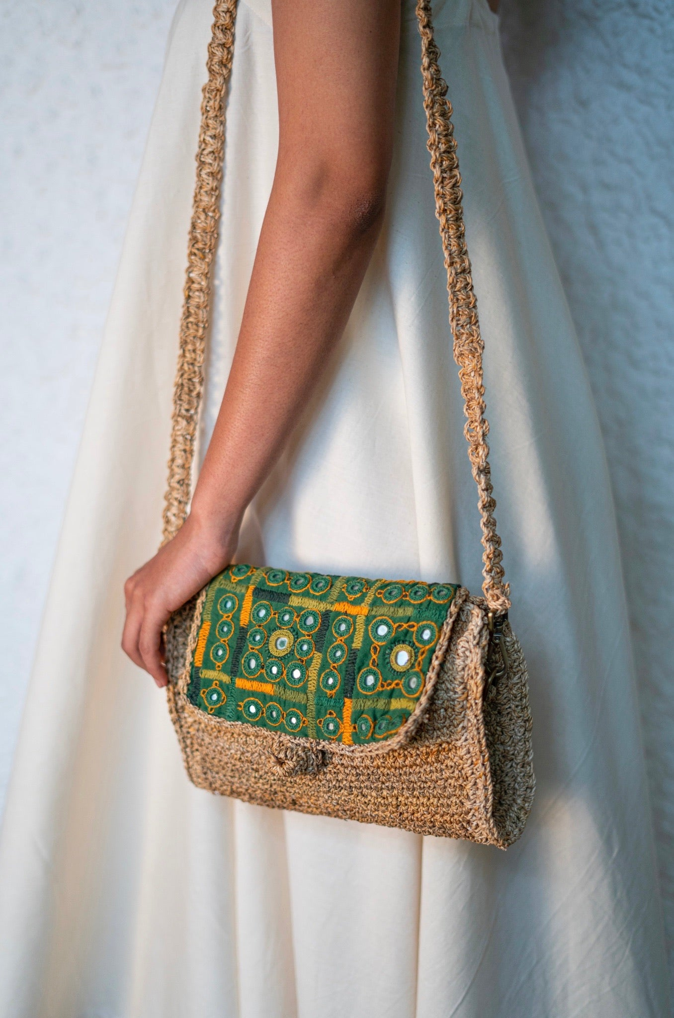 Embroidered envelope bag