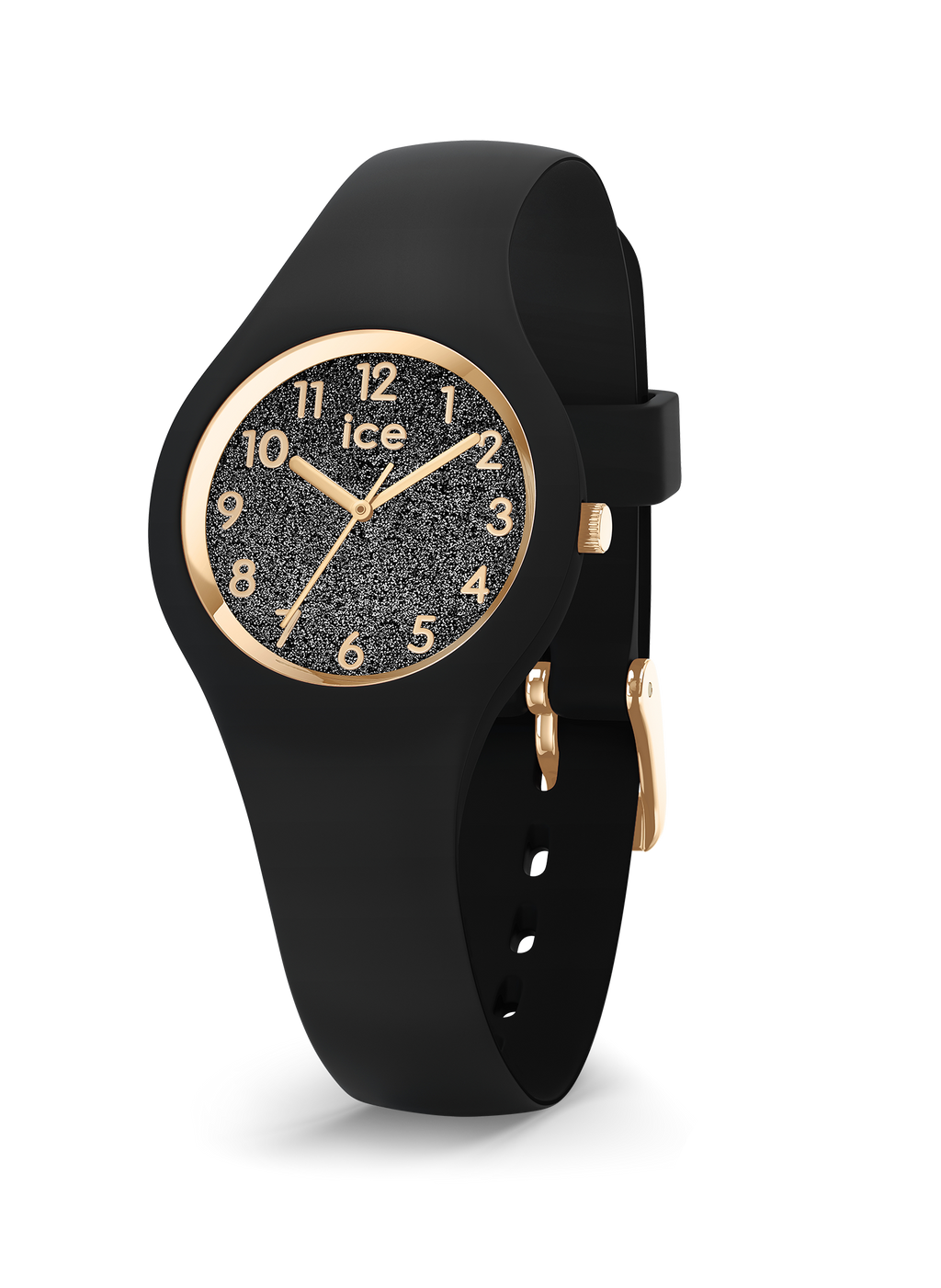 ICE WATCH Glitter Collection Gold Case 28mm (XS) Black Dial Black Strap