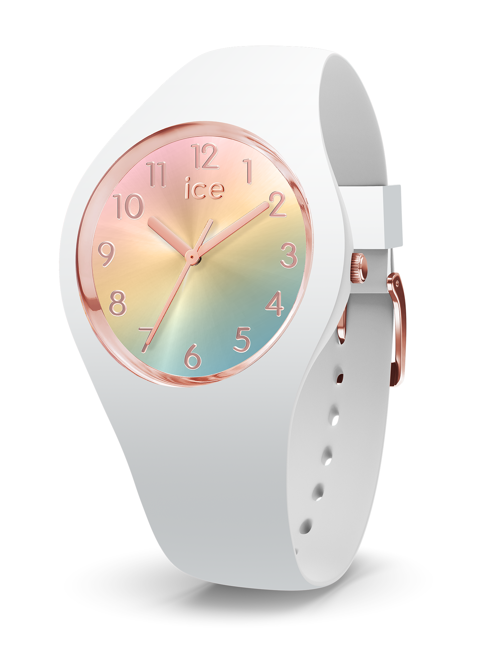 ICE WATCH Sunset Collection Rose Gold Case 34mm (S) Rainbow Dial White Strap