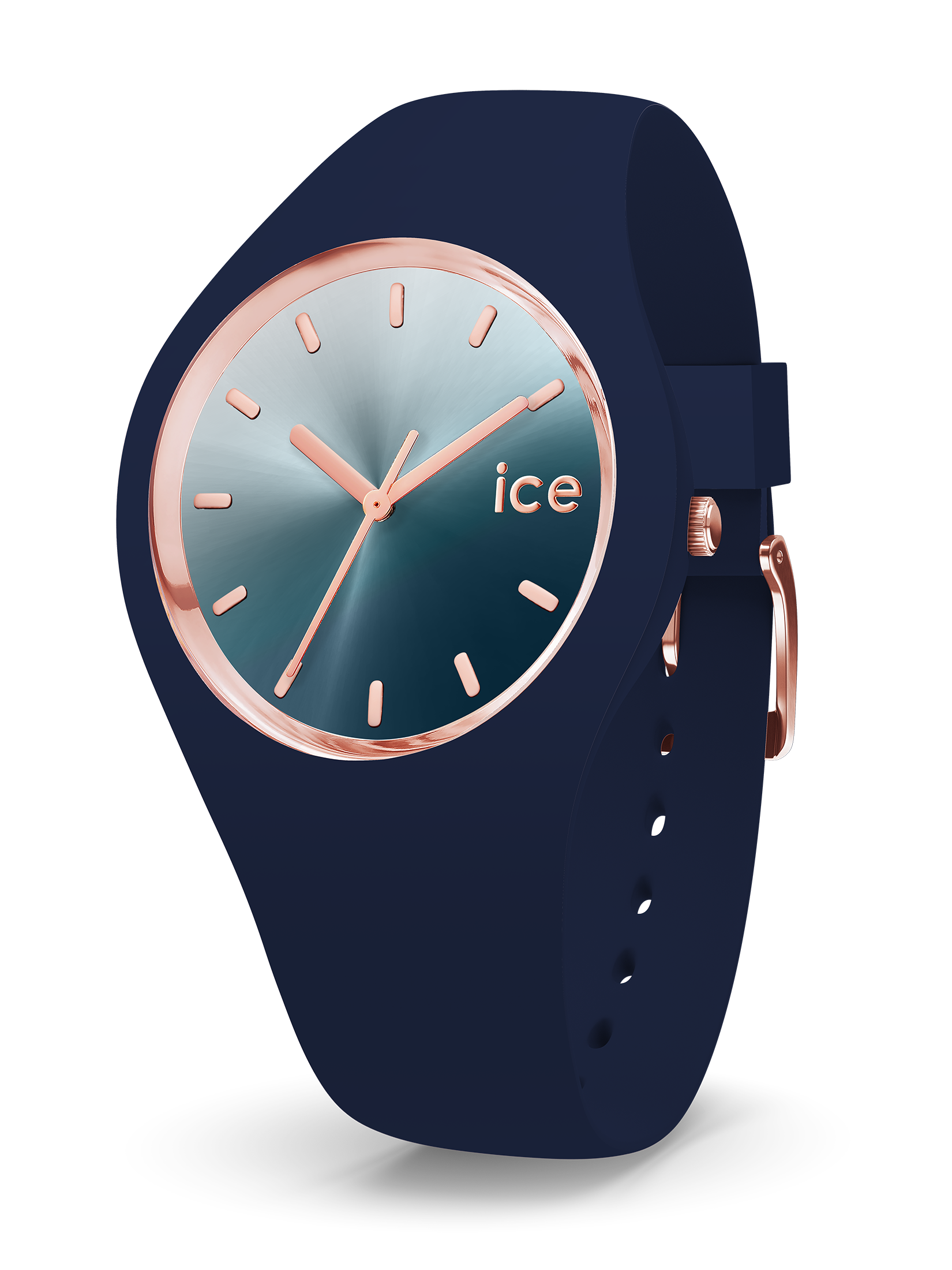 ICE WATCH Sunset Collection Rose Gold Case 40mm (M) Silver Blue Dial Blue Strap