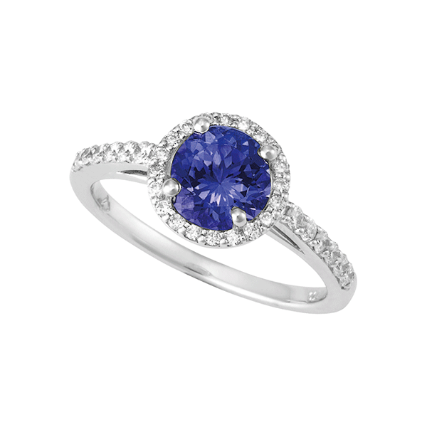 18ct Gold Round Tanzanite Ring