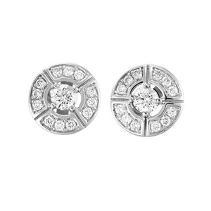 18ct White Gold Circle Design with Round Brilliant-cut Diamond Claw Centre Earrings