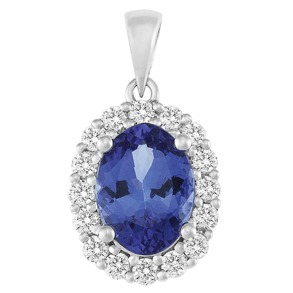 18ct White Gold Tanzanite & Diamond Pendant