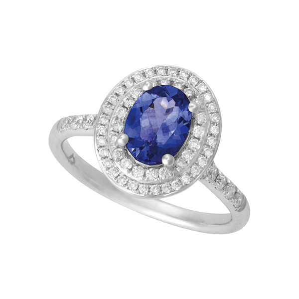 18ct White Gold Tanzanite & Diamond Ring