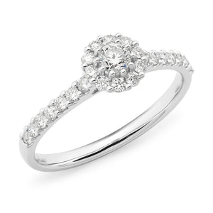 0.53ct Round Brilliant Cut Diamond Claw Set Halo Engagement Ring in 9ct White Gold