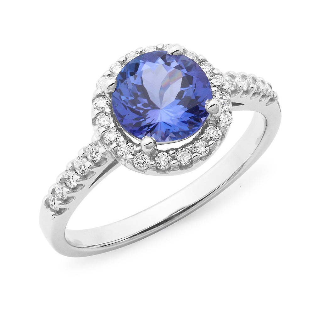 Tanzanite & Diamond Claw & Bead Set Dress Ring in 9ct White Gold
