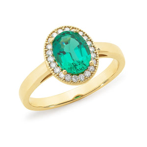 Created Emerald & Diamond Halo Dress Ring in 9ct Yellow Gold