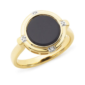 Onyx & Diamond Bezel/Bead Set Dress Ring in 9ct Yellow Gold