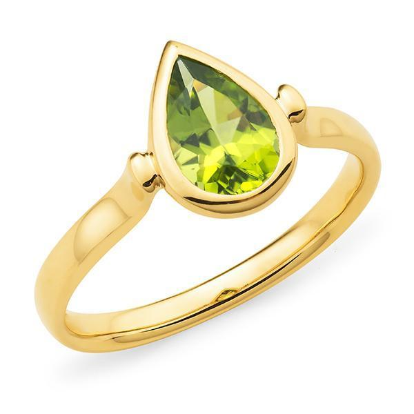 Peridot Bezel Set Dress Ring in 9ct Yellow Gold