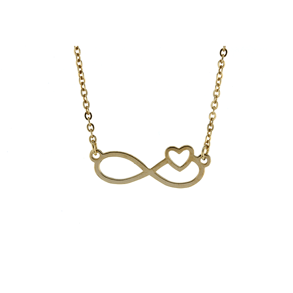 9ct 45cm Infinity with Heart Necklace