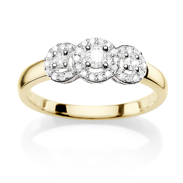 9ct Gold 0.26ct Diamond Trilogy Ring