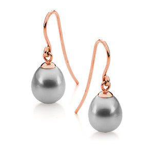9ct Rose Gold Dyed Grey Freshwater Pearl 7.5-8mm Shepherd Hook Earrings