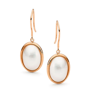 9ct Rose Gold Oval 8 x 10 Australian Mabe Shepherd Hook Earrings
