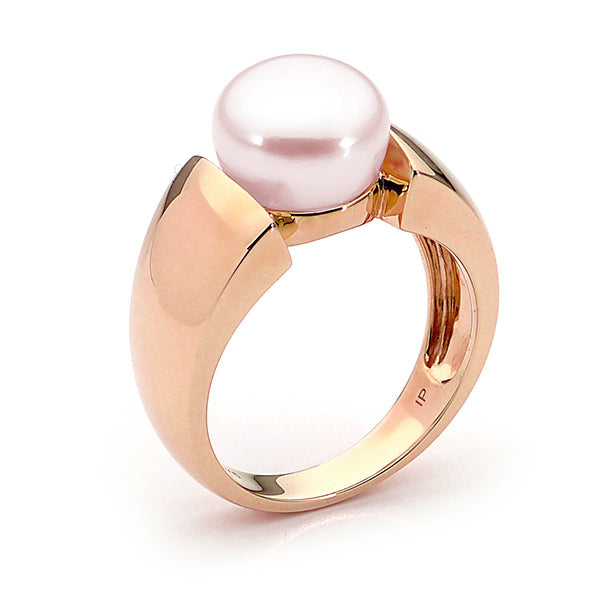 9ct Rose Gold Pink 10mm Freshwater Pearl Ring Size A--O