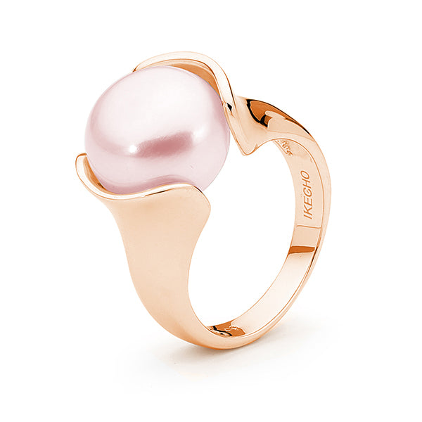 9ct Rose Gold Pink 12-13mm Button Freshwater Pearl Ring P--T