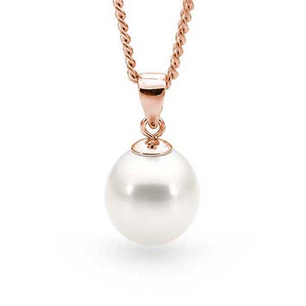 9ct Rose Gold White 10-10.5mm Freshwater Pearl Pendant