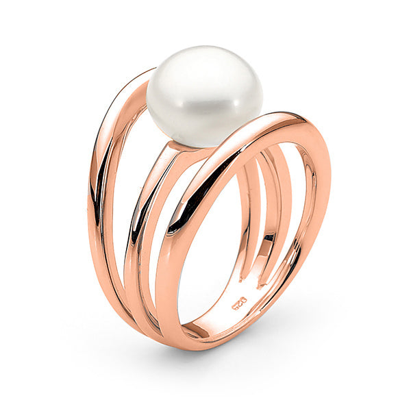9ct Rose Gold White 10-10.5mm Freshwater Pearl Ring P - T