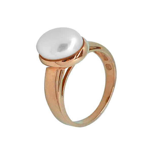 9ct Rose Gold White 8-8.5mm Button Freshwater Pearl Ring A--O