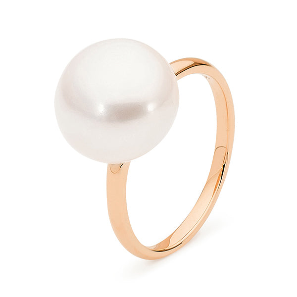 9ct Rose Gold White Button 12-12.5mm Freshwater Pearl Ring A--O