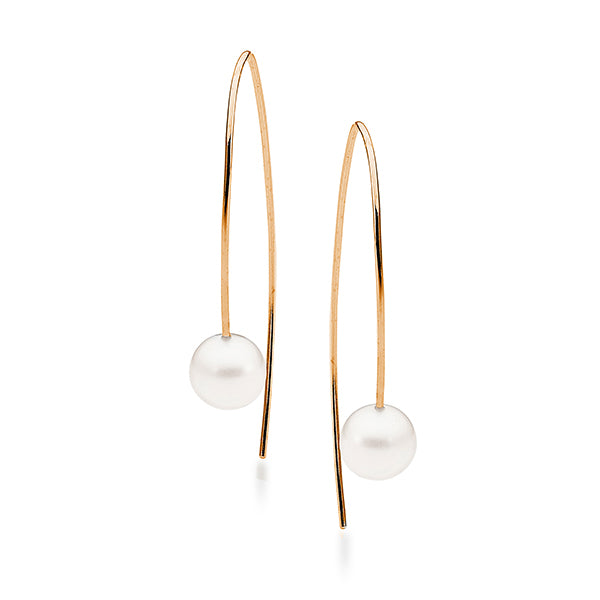 9ct Rose Gold White Round 8.5-9mm Freshwater Pearl Hook Earrings