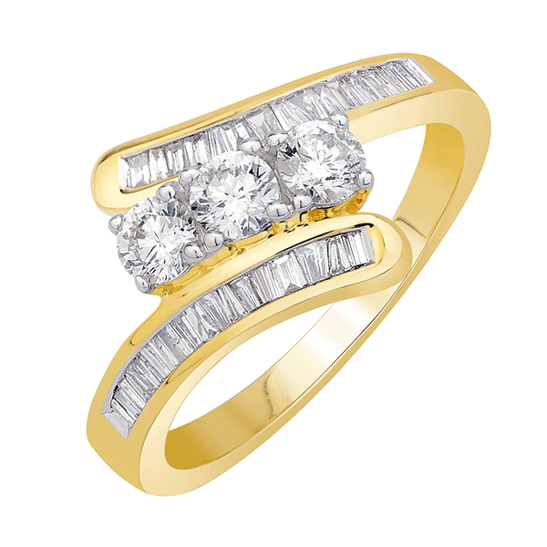 9ct Trilogy 0.75ct diamond ring with baguette shoulders