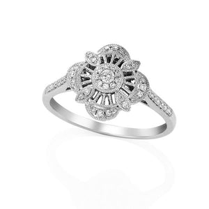 9ct White Gold Diamond Shape Flower with Round Brilliant-cut Diamonds Ring