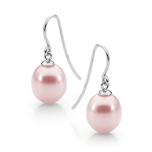 9ct White Gold Pink 9-9.5mm Freshwater Pearl Hook Earrings