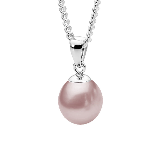 9ct White Gold Pink 9-9.5mm Freshwater Pearl Pendant