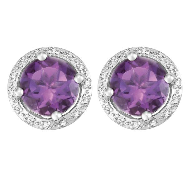 9ct White Gold Round Amethyst and  Round Brilliant-cut Diamond Earrings