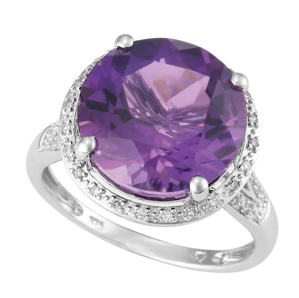 9ct White Gold Round Amethyst and  Round Brilliant-cut Diamond Ring
