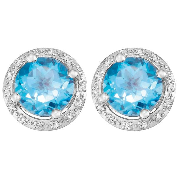 9ct White Gold Round Blue Topaz and  Round Brilliant-cut Diamond Earrings