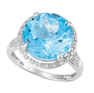 9ct White Gold Round Blue Topaz and  Round Brilliant-cut Diamond Ring