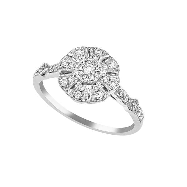 9ct White Gold Round Brilliant-cut Diamond Art Deco Style Cluster Ring