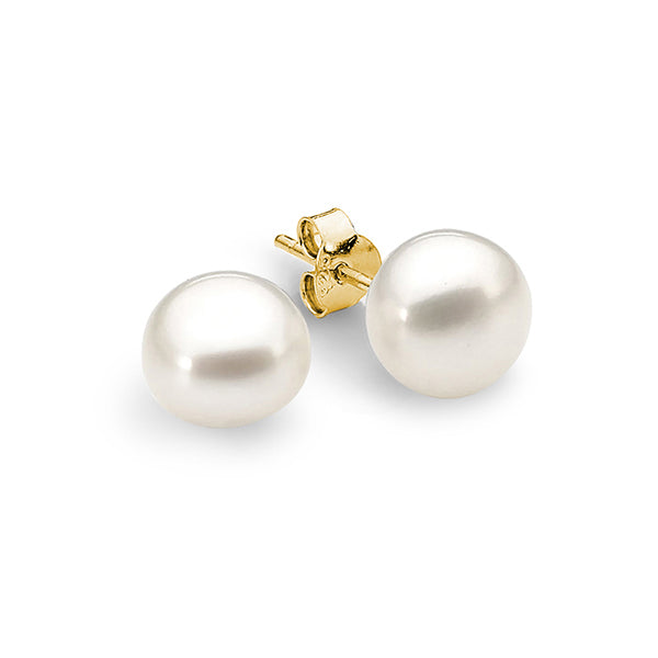 9ct Yellow Gold 8mm Button White Freshwater Pearl Stud Earrings