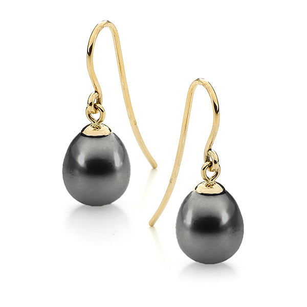 9ct Yellow Gold Black 7.5-8mm Drop Freshwater Pearl Hook Earrings