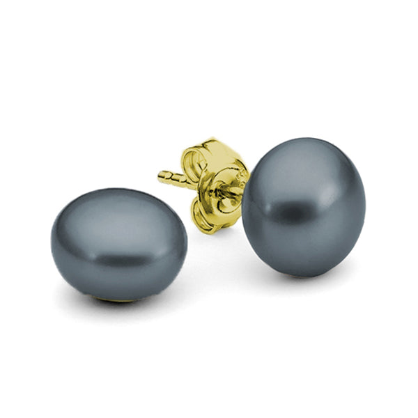 9ct Yellow Gold Black Button 11mm Freshwater Pearl Stud Earrings
