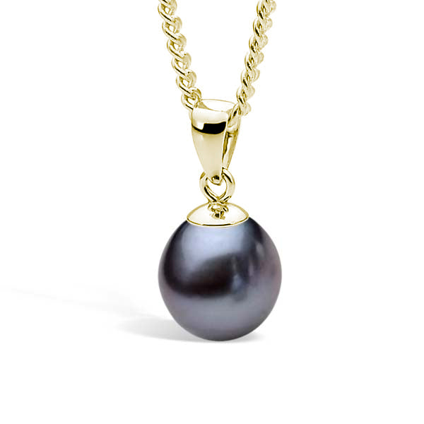 9ct Yellow Gold Dyed Black 9-9.5mm Freshwater Pearl Pendant