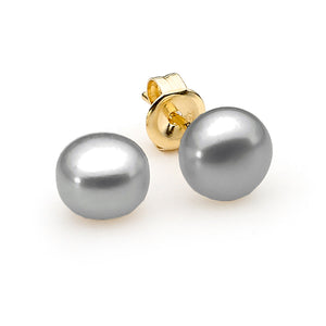 9ct Yellow Gold Grey Button 9mm Freshwater Pearl Stud Earrings