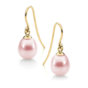 9ct Yellow Gold Pink 10-10.5mm Freshwater Pearl Hook Earrings