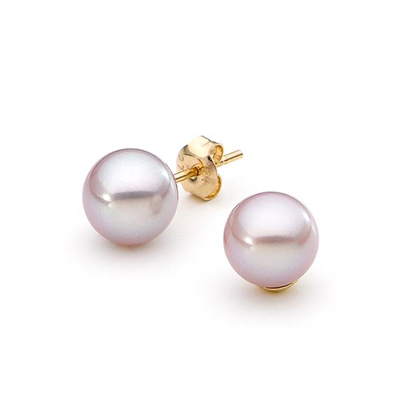 9ct Yellow Gold Pink 9.5-10mm Freshwater Pearl Round Stud Earrings