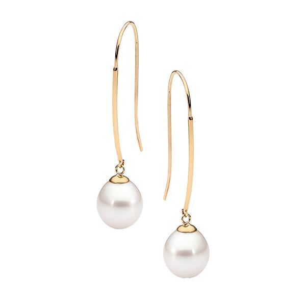 9ct Yellow Gold Pink Drop 9-9.5mm Freshwater Pearl Long Hook Earrings