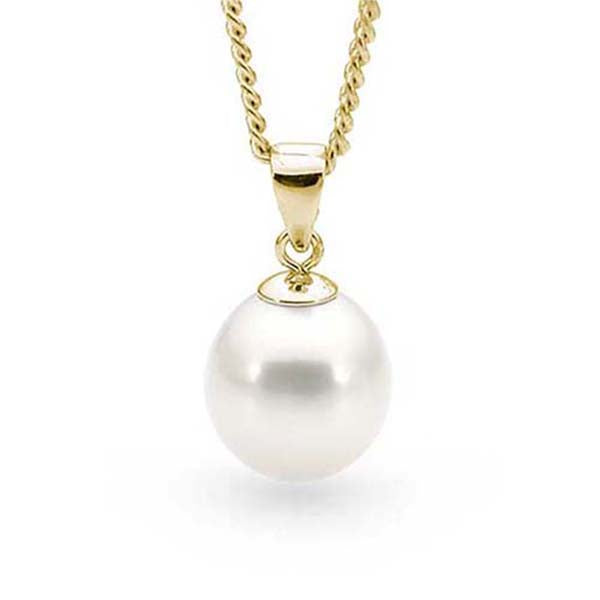 9ct Yellow Gold White 10mm Freshwater Pearl Pendant