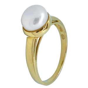 9ct Yellow Gold White 8-8.5mm Button Freshwater Pearl Ring A--O