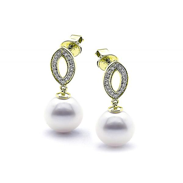 9ct Yellow Gold White 9mm Freshwater Pearl Dia. Earrings