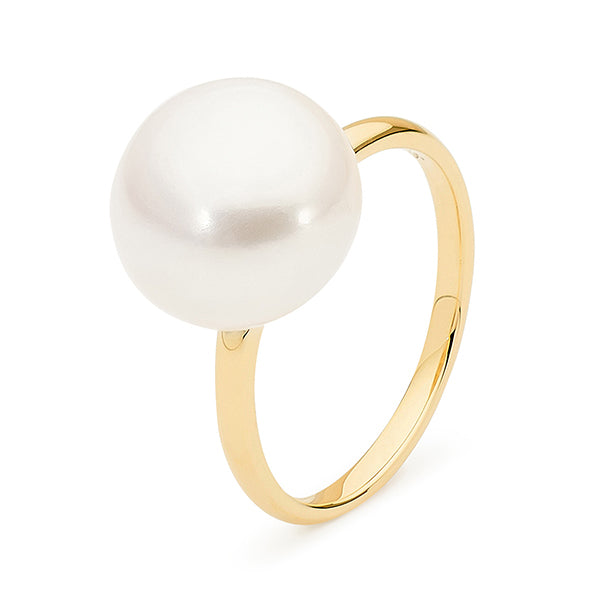 9ct Yellow Gold White Button 12-12.5mm Freshwater Pearl Ring P--T
