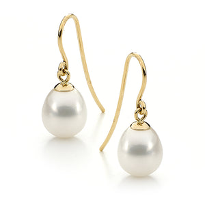 9ct Yellow Gold White Drop 10-10.5mm Freshwater Pearl Shepherd Hook Earrings