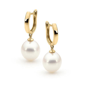 9ct Yellow Gold White Drop 9-9.5mm Freshwater Pearl Huggy Earrings