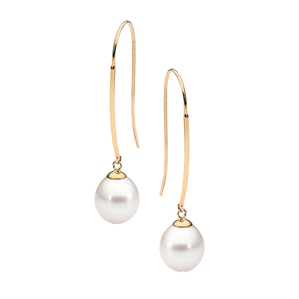 9ct Yellow Gold White Drop 9-9.5mm Freshwater Pearl Long Hook Earrings
